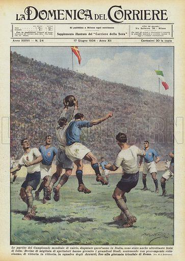 Le partite del Campionato mondiale di calcio, disputate quest'anno in Italia, sono state anche altrettante feste di folla. Decine di migliaia di spettatori hanno gremito i grandiosi Stadi, sostenendo con prorompente entusiasmo, di vittoria in vittoria, la squadra degli Azzurri, fino alla giornata trionfale di Roma. Illustration for La Domenica del Corriere, 17 June 1934.