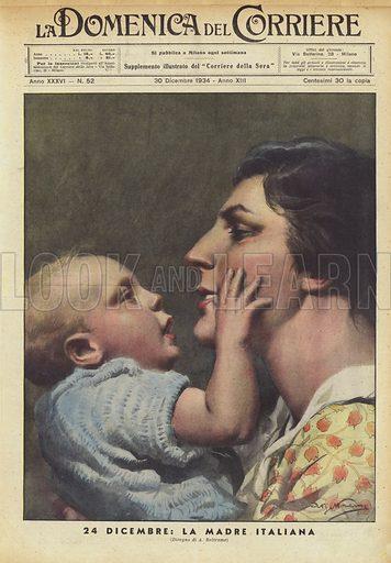 24 Dicembre, La Madre Italiana. Illustration for La Domenica del Corriere, 30 December 1934.