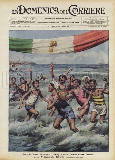 La giovinezza italiana si ritempra nelle colonie estive fasciste, sotto il segno del Littorio. Illustration for La Domenica del Corriere, 21 July 1935.