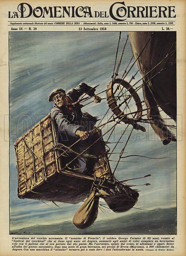 L'avventura del vecchio aeronauta. Il nonnino di Francia, il celebre George Cormier di 82 anni, venuto al festival dei vecchioni che si tiene ogni anno ad Angers, annuncio agli amici di voler compiere un brevissimo volo con il pallone che si era portato dal suo paese. Ma l'aerostato, spinto dal vento, si allontano e spari. Scese all'alba del giorno successivo, dopo una notte di gran burrasca, nei pressi di Evron (Mayenne), a 100 chilometri da Angers. Con una macchina il nonnino tornava poi a casa dove i suoi l'attendevano in ansia. Illustration for La Domenica del Corriere, 23 September 1956.