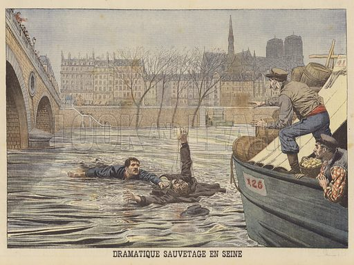 A dramatic rescue on the Seine. A man who tried to commit suicide by jumping from a bridge. Dramatique sauvetage en Seine. Illustration for Le Petit Journal, 18 March 1906.