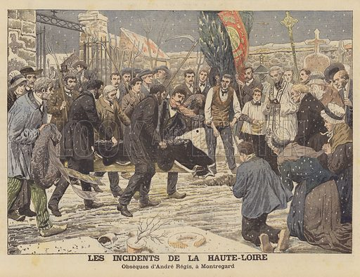 The troubles in the departement of Haute-Loire, France. The funeral of Andre Regis at Montregard. Regis was killed during one of the disturbances which broke out in protest at the inventory of church property ordered by the French government as part of its policy of the separation of church and state. Les incidents de la Haute-Loire. Obseques d'Andre Regis, a Montregard. Illustration for Le Petit Journal, 8 April 1906.