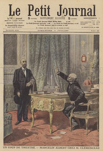 Marcelin Albert meeting French Prime Minister Georges Clemenceau. Albert was the popular leader of a revolt by winemakers in the Midi region of the south of France. He went to Paris and met Clemenceau, who agreed to introduce measures to crack down on fraudulent wine production if Albert would return to the Midi and calm the rebellion. Un coup de theatre. Marcelin Albert chez M Clemenceau. Illustration for Le Petit Journal, 7 July 1907.