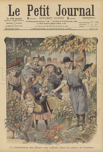 Distribution of flowers to children in the parks of London