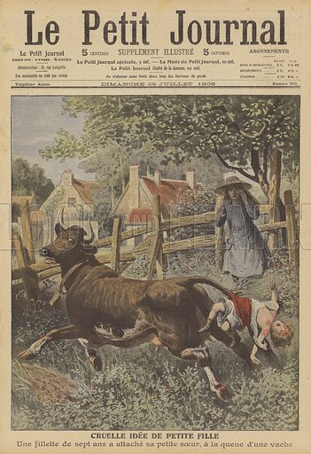 Cruel idea of a young girl. A three year-old girl dragged to her death after being tied to the tail of a cow by her seven year-old older sister. Cruelle idee de petite fille. Une fillette de sept ans a attache sa petite soeur, a la queue d'une vache. Illustration for Le Petit Journal, 25 July 1909.