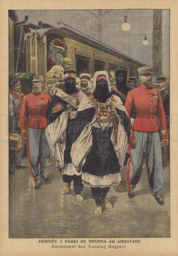 Arrival in Paris of Moussa Ag Amastan, Chief of the Kel Ahaggar Tuareg. Arrivee a Paris de Moussa Ag Amastane. Amenoukal des Touareg Hoggars. Illustration for Le Petit Journal, 21 August 1910.