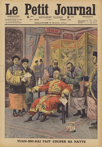 Chinese General Yuan Shikai having his pigtail cut off - Look and