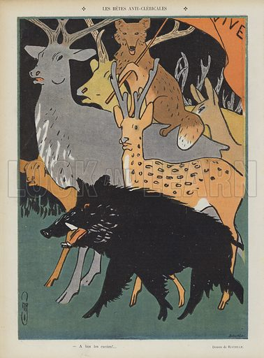 The anti-clerical beasts. Illustration for Le Rire, 14 January 1905.