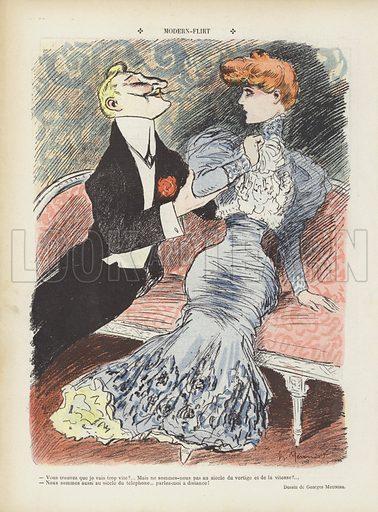 Modern flirting. Illustration for Le Rire, 6 January 1906.
