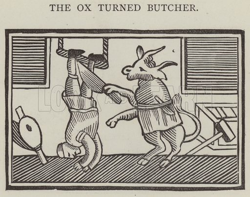 The ox turned butcher. Illustration for Chap-Books of the Eighteenth Century by John Ashton (Chatto and Windus, 1882).