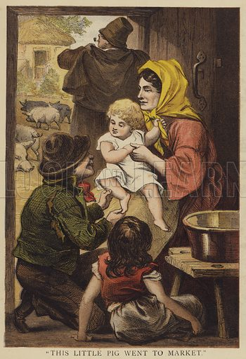 """""""This little pig went to market."""" Illustration for Chatterbox (1872)."""