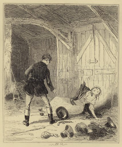 Corder shooting Maria Marten. Illustration for The Chronicles of Crime or The New Newgate Calendar by Camden Pelham with original drawings by Phiz (Thomas Tegg, 1841).
