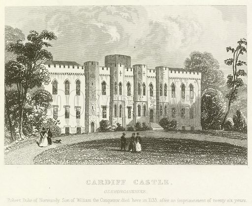 Cardiff Castle, Glamorganshire. Illustration for Curiosities of Great Britain: England and Wales Delineated, Historical, Entertaining and Commercial (1854).