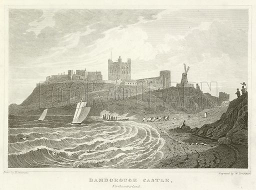 Bamborough Castle, Northumberland. Illustration for Curiosities of Great Britain: England and Wales Delineated, Historical, Entertaining and Commercial (1854).