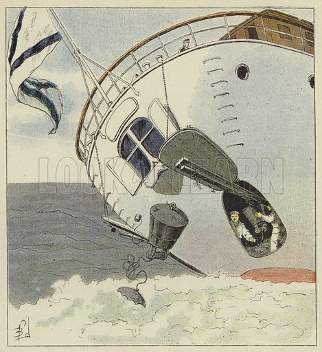 Pose de mines sous-marines. Illustration for La Guerre en Extreme-Orient, Russes et Japonais, by H Galli (Garnier, c 1905).