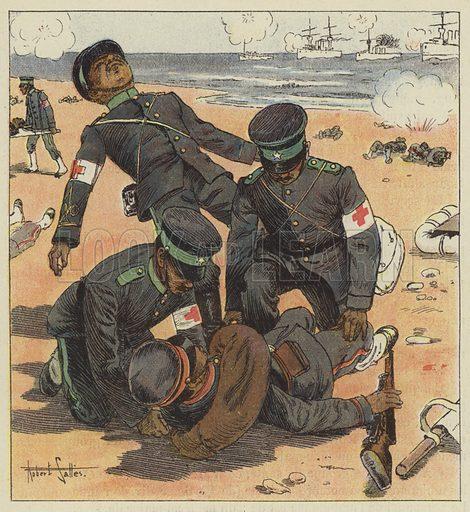Brancardiers japonais relevant les blesses. Illustration for La Guerre en Extreme-Orient, Russes et Japonais, by H Galli (Garnier, c 1905).