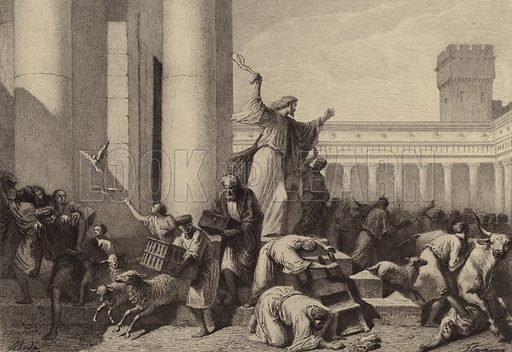Jesus driving the Money-Changers out of the Temple. Illustration for The Gospel according to Saint John (Sampson Low, 1873).