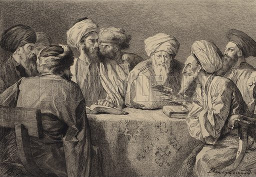 Council of the Pharisees and Herodians. Illustration for The Gospel according to Saint Mark (Sampson Low, 1875).
