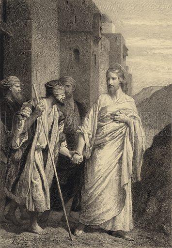 Jesus leadeth the Blind Man. Illustration for The Gospel according to Saint Mark (Sampson Low, 1875).