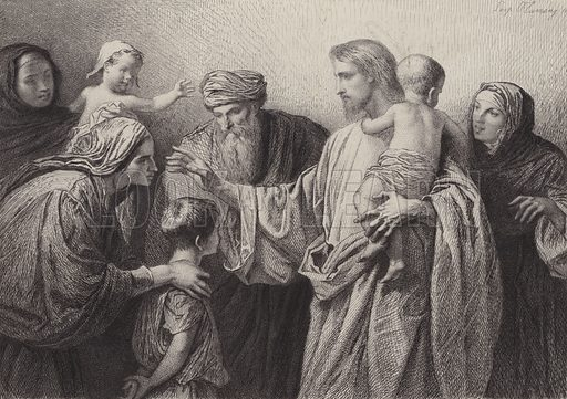Of Such is the Kingdom of Heaven. Illustration for The Gospel according to Saint Matthew (Sampson Low, 1873).