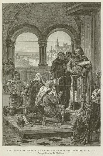 Guy, Comte De Flandre S'En Vint Humblement Vers Charles De Valois. Illustration for Les Chroniqueurs de l'histoire de France by Madame de Witt (Hachette, 1886).
