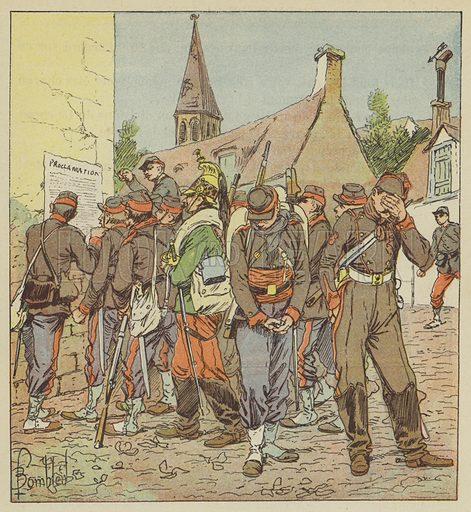Soldats de l'armee de la Loire lisant l'affaire de la capitulation de Metz. Illustration for L'Armee de la Loire Relation Anecdotique de la Campagne de 1870–1871 by Grenest (Garnier, 1893).
