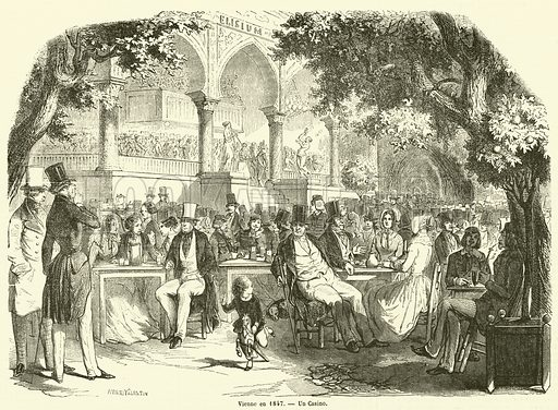 Vienne en 1847, Un Casino. Illustration for L'Illustration, Journal Universel, 2 December 1848.