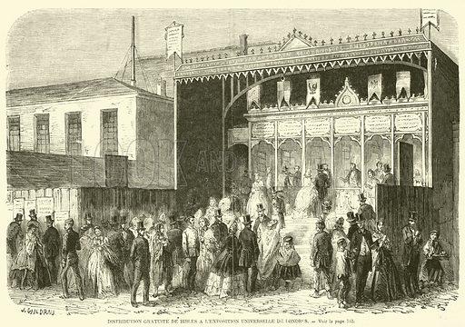 Distribution gratuite de Bibles a l'exposition universelle de Londres. Illustration for L'Illustration, Journal Universel, 22 November 1862.