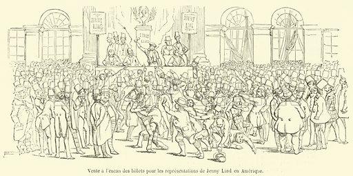 Vente a l'encan des billets pour les representations de Jenny Lind en Amerique. Illustration for L'Illustration, Journal Universel, 23 November 1850.