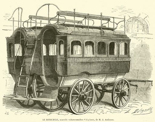 Le bitricycle, nouvelle voiture-omnibus a 52 places, de M J Audineau. Illustration for L'Illustration, Journal Universel, 26 September 1863.
