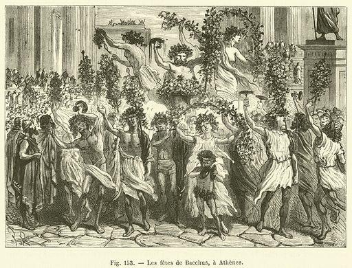 Les fetes de Bacchus, a Athenes. Illustration for Les Merveilles de l'Industrie by Louis Figuier (Furne, Jouvet, c 1880).