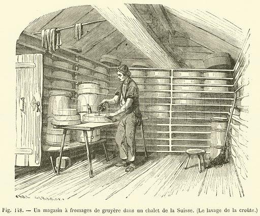Un magasin a fromages de gruyere dans un chalet de la Suisse, Le lavage de la croute
