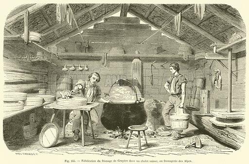 Fabrication du fromage de Gruyere dans un chalet suisse, ou fromagerie des Alpes