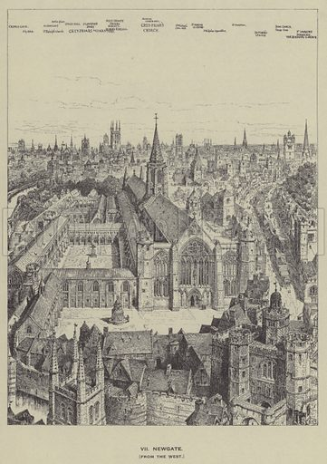 Newgate, from the West. Illustration for Old London Illustrated, a series of drawings illustrating London in the 16th Century (The Builder, 2nd edn, 1921).