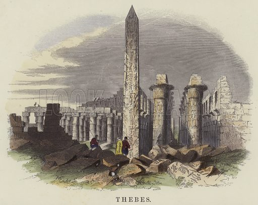Thebes. Illustration for Thirty Prints of Places mentioned in the Holy Scriptures illustrative of the fulfilment of Prophecy (SPCK, c 1885).