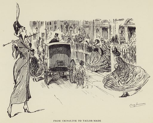 From Crinoline to Tailor-made. Illustration for Some Victorian Women by Harry Furniss (John Lane, The Bodley Head, 1923).