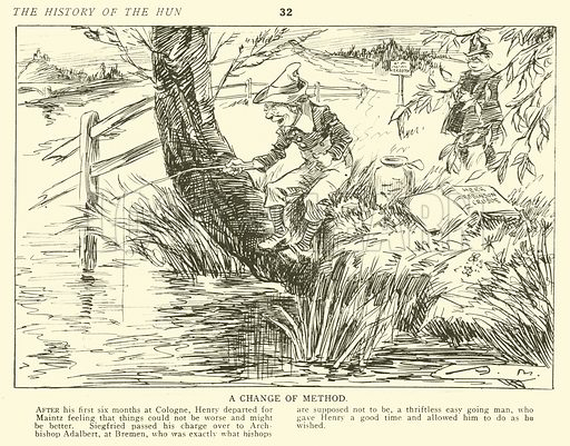 A Change of Method. Illustration for The History of the Hun by Arthur Moreland (Cecil Palmer and Hayward, 1917).