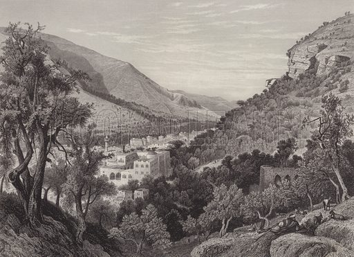 Nablus, the Ancient Shechem. Illustration for The Holy Bible edited by Donald Macleod (Virtue, c 1890).