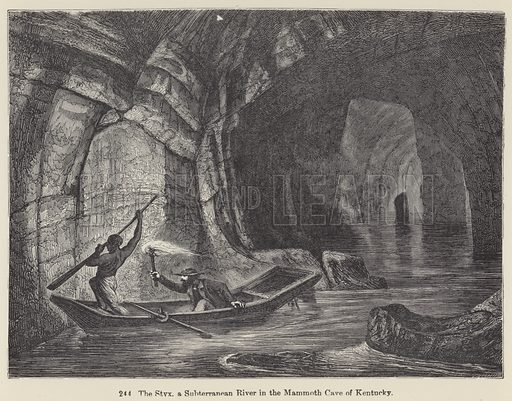The Styx, a Subterranean River in the Mammoth Cave of Kentucky. Illustration for The Universe by F A Pouchet (new edn, Blackie 1906).