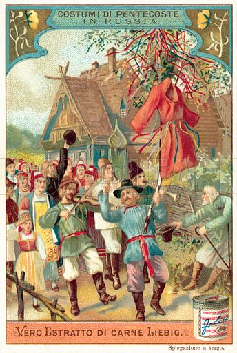 Traditional Pentecost celebrations in Russia. Liebig card, published in late 19th or early 20th century.