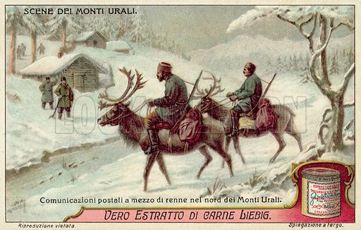 Postal service using reindeer in the northern Urals. Liebig card, published in late 19th or early 20th century. From a series depicting scenes in the Urals.