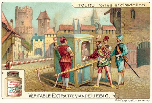 Gates and citadels. Liebig card, published in late 19th or early 20th century. From a series on towers.