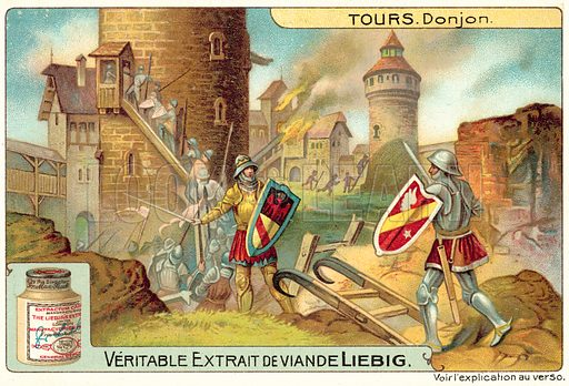 Keep of a medieval castle. Liebig card, published in late 19th or early 20th century. From a series on towers.