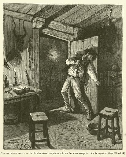 Une Station De Colons. Illustration for Journal Des Voyages, 16 November 1890.