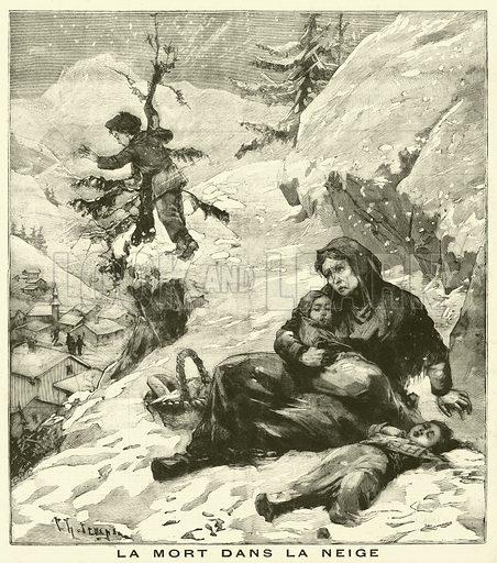 Death in the snow. La Mort Dans La Neige. Illustration for Le Petit Parisien (Supplement Litteraire Illustre), 20 January 1895.
