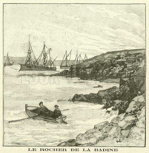 The Rocher de la Badine. Le Rocher De La Badine. Illustration for Le Petit Parisien (Supplement Litteraire Illustre), 1 December 1895.