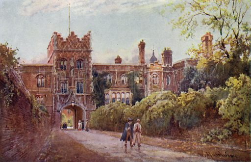 Gateway of Jesus College. Illustration for Cambridge by M A R Tuker, painted by William Matthison (A&C Black, 1907).