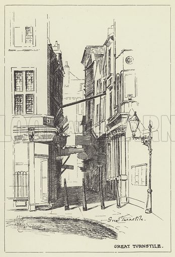 Great Turnstile. Illustration for London Alleys, Byways and Courts drawn and described by Alan Stapleton (John Lane, The Bodley Head, 1924).