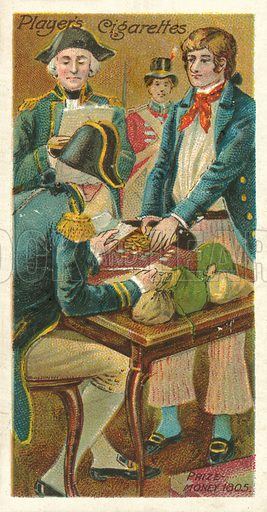 Prize-money, 1805. Illustration for one of a series of cigarette cards on the theme of Life on Board a Man of War in 1805 and 1905, published by John Player, early 20th century.