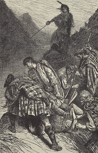The murder of Morris. Illustration for Rob Roy by Sir Walter Scott (A&C Black, 1898).
